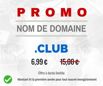 Promotion sur le nom de domaine .CLUB