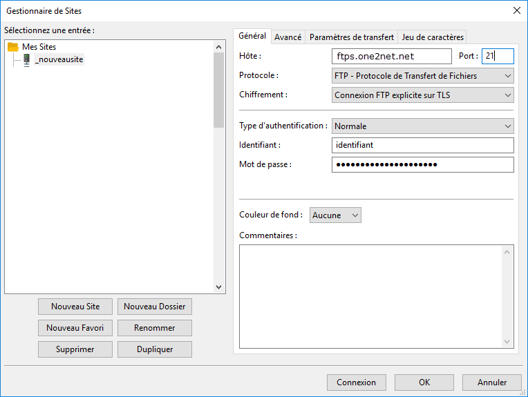 Paramétrage Filezilla