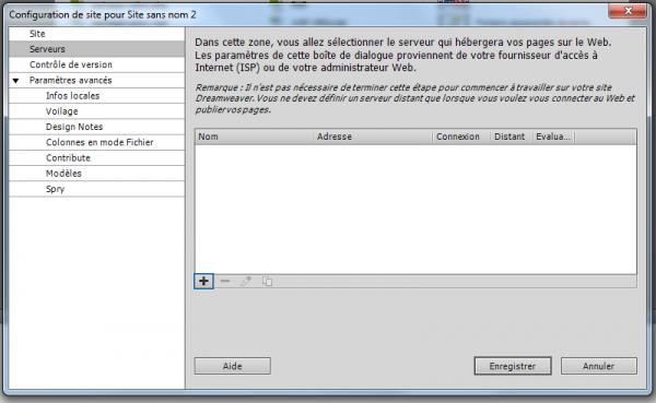 Configuration de site : Serveurs
