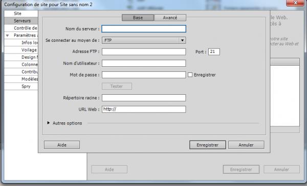 Configuration de site : onglet de Base