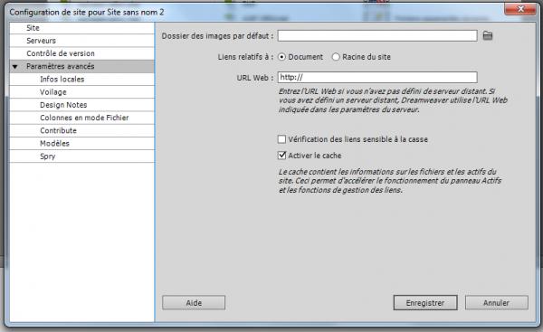 Configuration de site : paramètres avancés