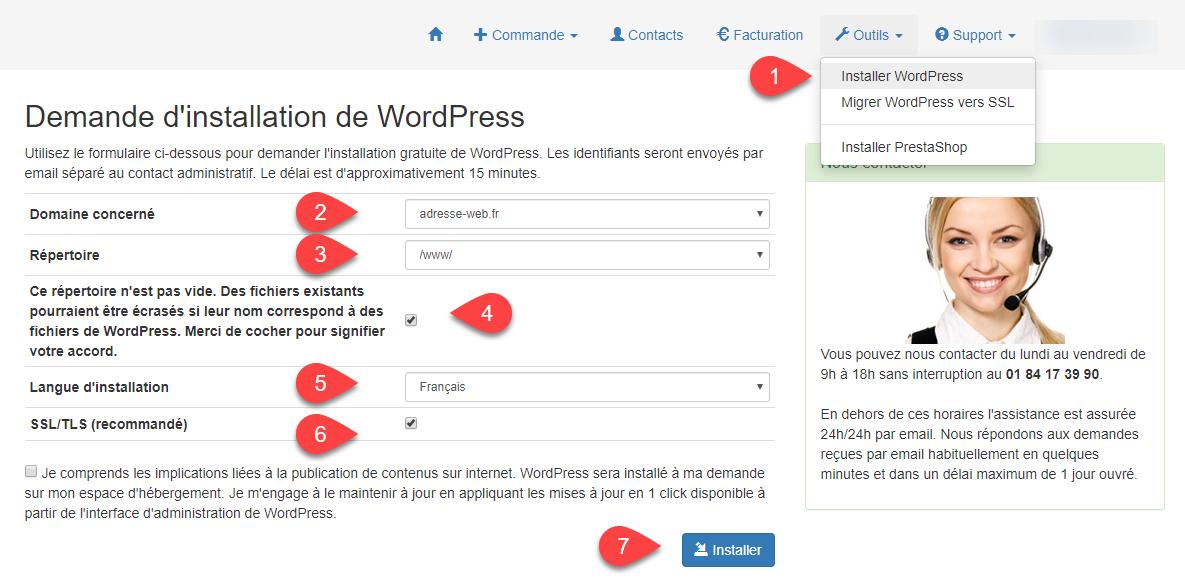 Installer WordPress en 1 click