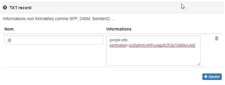 Fichier de zone google site