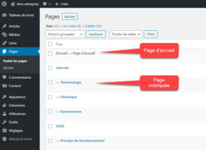Interface WordPress des pages