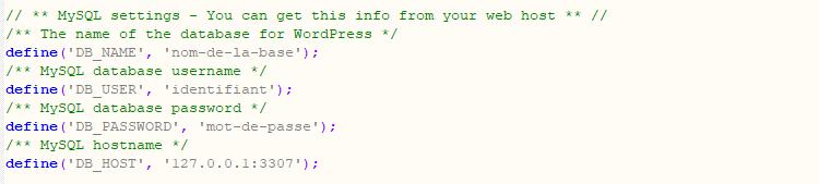 Fichier configuration WordPress