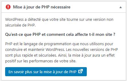WordPress, mise à jour de PHP nécessaire