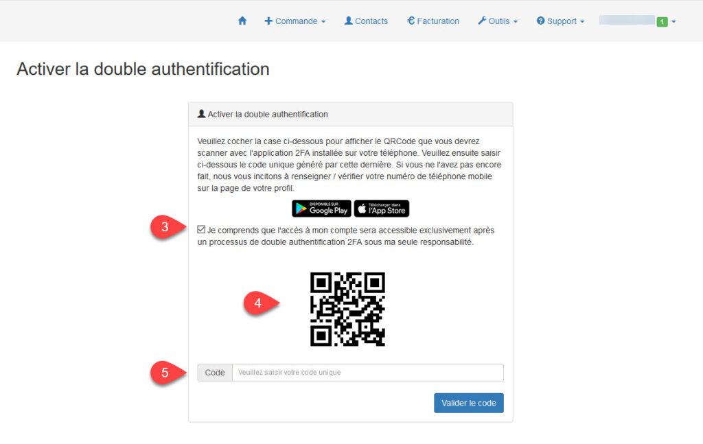 Scanner votre code / Authentification à deux facteurs