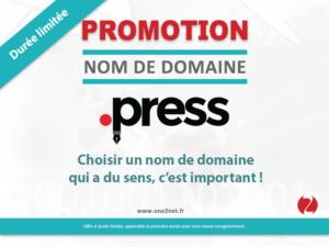 Promotion sur l'enregistrement de votre nom de domaine Press