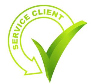 service client sur symbole validé vert