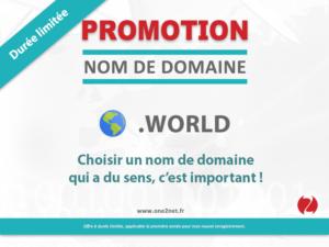 Promotion sur l'enregistrement de votre nom de domaine World